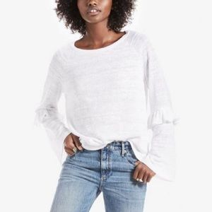 Lucky Brand Ruffle Bell Sleeve Knit Top White M